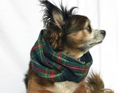 Pet Dog Infinity Scarf Blue and red Plaid Flannel