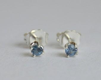 Silver Earring, Spinel Earring, Sterling Silver Stud Earring, 3mm Spinel Stud, Floral Studs, Blue Silver Post Earrings, Spinel Post Earrings