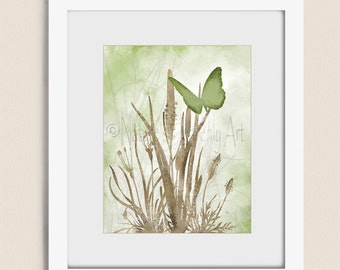11 x 14 Butterfly Wall Art for Living Room Decor, Butterfly Art Print, Green and Brown Nature Wall Art, Butterfly Print   (322)