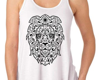 Mandala Lion Face Flowy Tank Top