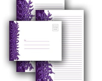 Woven Vine Note Sheets and Envelope - Printable Stationery Digital Download