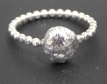 Sterling Silver Pebble Ring - Beaded Band