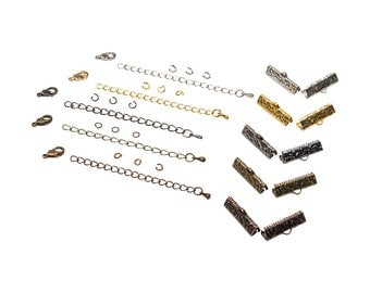 22mm  ( 7/8 inch )  Ribbon Choker or Ribbon Bracelet Findings Kit - Bronze, Gold, Silver, Gunmetal, Copper - Artisan & Dots Series