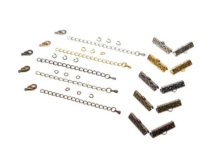 22mm  ( 7/8 inch )  Ribbon Choker or Ribbon Bracelet Findings Kit - Bronze, Gold, Silver, Gunmetal, Copper or Mixed - Artisan & Dots Series