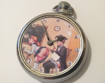 Vintage 1960's Erotic Automaton Pocket Watch The Classroom. Mature