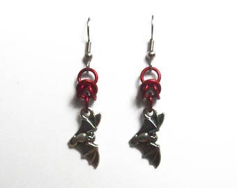 Red bat earrings, Gothic bat jewelry, Silver flying bat earrings, Bright red bats