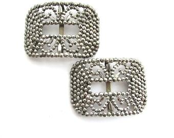 Cut Steel Shoe Clips Buckles French Fleur de Lis Jewelry Supply Assemblage Dressmaker Costume Design France