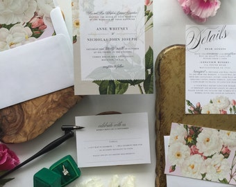 KATEY SUITE // Botanical Wedding Invitation, Rustic, Blush, Roses, Classic, Vintage, Garden Wedding, Spring Wedding,  Wedding, Flowers
