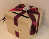 Wedding Card Box Champagne and Burgundy Gift Card Box Money Box Holder--Customize your color/made to order (10x10x9)