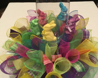 Ready To Ship Deco Mesh Easter Centerpiece , Easter Bunny Go Round Centerpiece , Easter Candle Ring