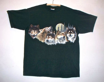 90s wolf pack print double~sided tshirt
