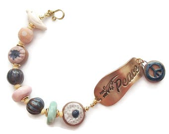 Peace Bracelet with Ceramic Beads Peace Ceramic Beads Ceramic Bird Bead