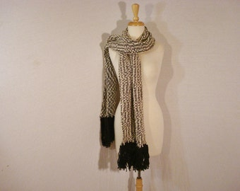 Scarf Black & White Fringed Long Wool Wrap Unisex Accessory