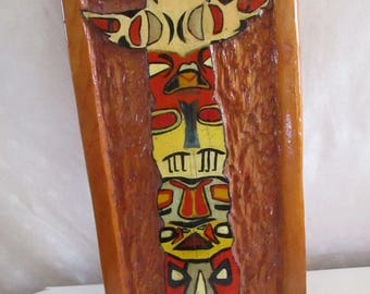 Picture Totem Pole  Hand carved Wall hanging