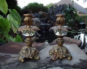 Pair Vintage Brass & Glass Hollywood Regency Candle Holders Candlesticks