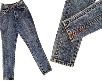 Vintage High Waist Jeans CHIC Jeans Acid Wash Jeans Slim Fit Back Seams Taper Jeans Zipper Leg Vintage Denim Jeans 80s Mom Jeans 26 Waist