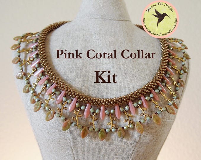 Pink Coral an Embellished Beaded Kumihimo Collar Kit, Free Canvas Tote, Complete With Tutorial