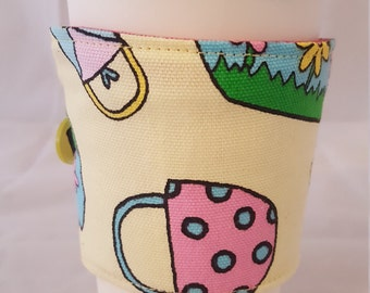 Reusable Coffee Cozie Sleeve Yellow Tossed Purses