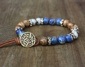 Blue Jasper and  Tibetan Agate Gemstone Bracelet, Antiqued Brass Button, Boho, Bohemian, Rustic Jewelry