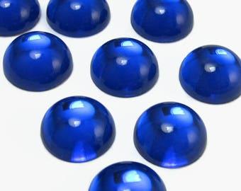 Blue Vintage Glass Cabochon 6 pcs 14 mm Colbalt Stones S-243