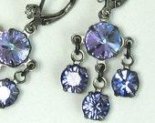 20% OFF SALE Purple Chandelier Earrings Swarovski Crystal Drops