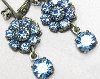 Blue Rhinestone Earrings Swarovski Flower Drop with Antique Silver