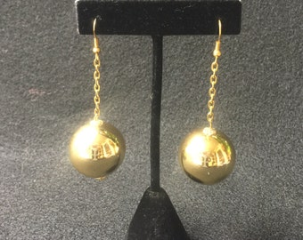 Mod Space Age Groovy Gold Ball Vintage Earrings
