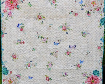 MarveLes PAPER PATTERN Tell Me a Story Lap or Twin Size Quilt Children Floral Collage Home Decor