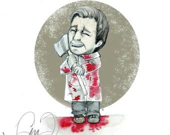 Patrick Bateman American Psycho - Horror - Classic -  Watercolor Print