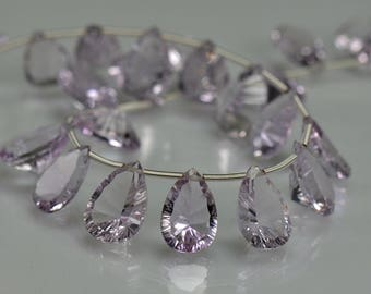 Pink Amethyst  Briolettes  AAA Amethyst Concave Faceted Gemstone Briolette Beads