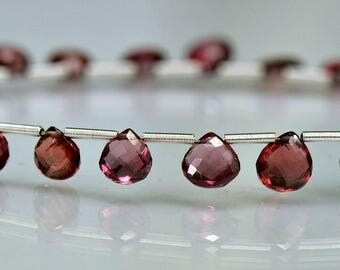 Rhodolite Garnet Heart Briolettes AAA Gemstone Beads Micro Faceted