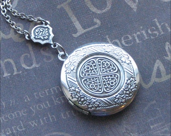 Silver Locket Necklace, Y Necklace, Photo Locket, Picture Jewelry, CELTIC KNOT, Wedding Jewelry, Bridesmaid Jewelry, BRIDE Locket Gift