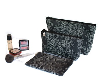 3 Sizes - Black Coral - Small - Medium - Large -  Cosmetic Bag with Zippered top