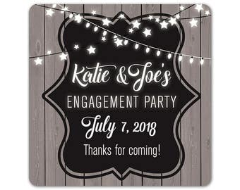 Personalized Engagement Stickers - Custom Favor Labels - Engagement Labels - Outdoor Party Stickers - Custom Labels - Square Stickers