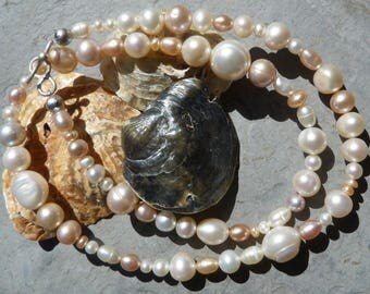 silver necklace with fresh water pearls; IMPORTANT, French vat is included,20% off for US, australian and canadian buyers