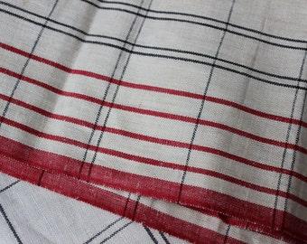 "Linen Toweling 17"" x 68"" Red Black Striped ONS Unused Tea Towel Fabric VINTAGE by Plantdreaming"