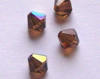 Swarovski Elements Crystal Beads BICONE  crystal beads Smoked Topaz (brown) -- Available in 4mm and 6mm