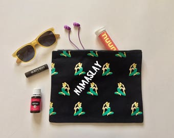 Namaslay Yoga makeup bag | Gym pouch | Gift for her | cotton canvas bag | Purse | Clutch | zippered pouch | Carry All | Happy Yogi | Namaste