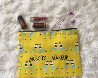 FREE SHIPPING Muscles and Makeup bag | Gym pouch | Gift for her | Purse | Clutch | zippered bag | Crossfit | Yoga | WOD | funny | gym bag