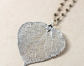 ON SALE Silver Aspen Leaf Necklace - Black Pyrite Chain - Fall Necklace