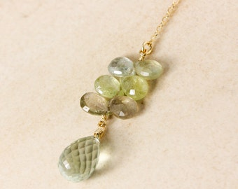 Green Sapphire and Green Amethyst Y Necklace - Lariat Necklace - Gold or Silver