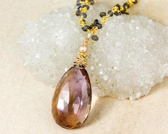 Gold Purple Ametrine Teardrop Necklace on Blue Iolite Chain - Ametrine Pendant, Ametrine Jewelry