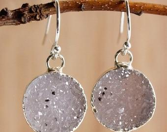 50 OFF SALE Silver Agate Druzy Quartz Earrings - Colourful Druzy - Choose Your Stones