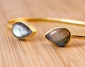 CHRISTMAS SALE Gold Blue Labradorite Dual Stone Bangle - Midnight Blue - Adjustable Bangle