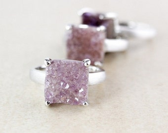 Natural Agate Purple Druzy Rings - Choose Your Druzy - Square