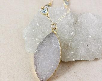 50% OFF Grey White Leaf Druzy Necklace – Blue Topaz