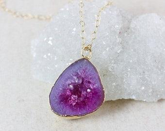 50% OFF Fuschia Pink Geode Druzy Necklaces - 14K GF - Choose Your Druzy