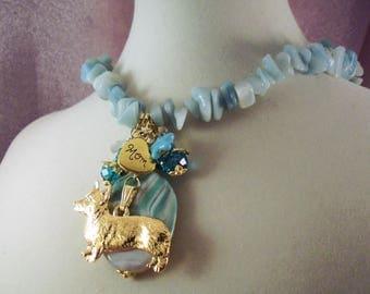 CORGI - ap15 - Dog - Free Shipping- SPRING Sale - Amazonite for Prosperity - Charm Necklace - Jewelry -  Handmade by USA Artisan - Last One