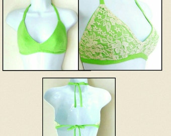 Bikini Top - Skirt Set - Bralette - Reversible -  Chartreuse Green - Cream - Floral Lace - Hand Made - UNIQUE - Recycled - GIRLY  - Romantic