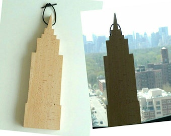 CHRYSLER BUILDING - Hand Made - Urban Art - Recycled Wood - Cutting Board - Display Art - UNIQUE - New York City Landmark - Eco Friendly -
